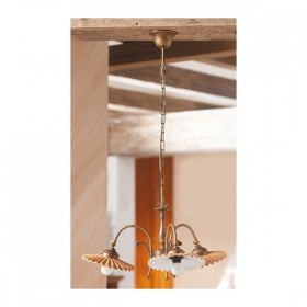 Suspension lamp 3 lights in brass and with lampshades in a terracotta pleated vintage country - Ø 40 cm