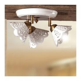 Plafoniera lampada da soffitto a tre luci con piatto in ceramica traforata rustica country