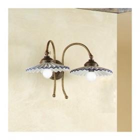 Appliques lampe de mur 2 lumière en laiton et de plaques de céramique plissée style rétro – Ø 21 cm