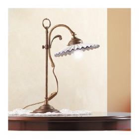 Lampe de Table en laiton et abat-jour en céramique plissé pays rétro – Ø 21 cm