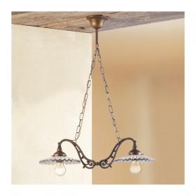 Lampe de rocker 2 lumières en laiton avec des plaques en céramique plissée rétro pays – Ø 60 cm
