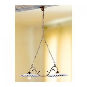 Lampe de rocker 2 lumières en laiton avec des plaques en céramique plissée vintage pays – Ø 80 cm