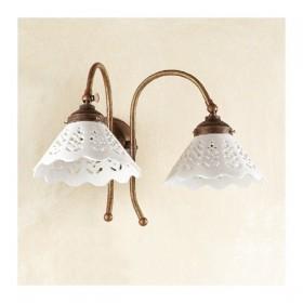 Appliques lampe de mur 2 lumière en laiton et de la vaisselle en céramique de broglie style rétro et vintage – Ø 18 cm