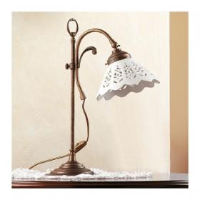 Lampada da tavolo in ottone e paralume in ceramica traforato country retrò – Ø 18 cm