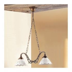 Lampe de rocker 2 lumières en laiton avec des plaques en céramique perforée rétro-vintage – Ø 60 cm