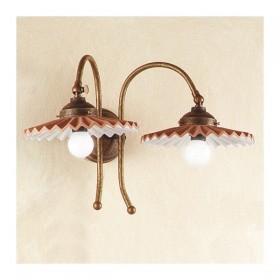 Appliques lampe de mur 2 lumière en laiton plats cuits et plissée style rétro pays – Ø 21 cm