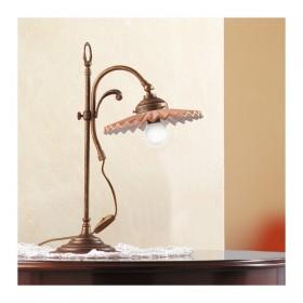 Lampada da tavolo in ottone e paralume in cotto plissettato country vintage – Ø 21 cm