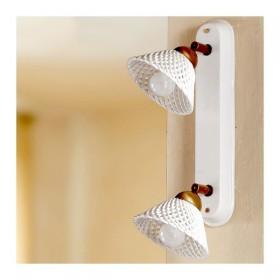 Appliques lampe de mur 2 luci dans ceramica-travaillé spaghetti vintage pays – Ø 14 cm