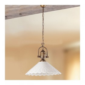 Suspension lamp in brass with shade in ceramic pierced vintage country - Ø 40 cm