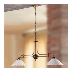 Lampe de rocker 2 lumières en laiton avec des plaques en céramique perforée rétro pays – Ø 108 cm