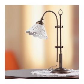 Lampada da tavolo in ottone e paralume in ceramica traforato country retrò – h 58 cm