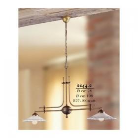 Lampe de rocker 2 lumières en laiton avec des plaques en céramique décorée rétro pays – Ø 108 cm