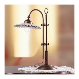 Lampada da tavolo in ottone e paralume in ceramica decorato country retrò – h 58 cm
