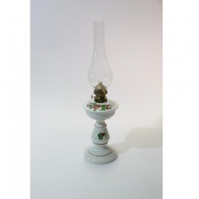 Lampada lume a petrolio bianco dipinta a mano in ceramica