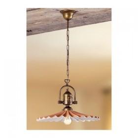 Lampe à Suspension en laiton avec de l'ombre en terre cuite plissettao vintage rétro – Ø 43 cm