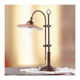 Lampada da tavolo in ottone e paralume in ottone plissettao vintage retrò – h 58 cm