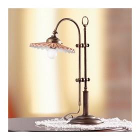 Lampe de Table en laiton et abat-jour en laiton plissettao vintage rétro – h 58 cm