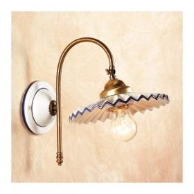 Appliques lampe de mur en satin de laiton et abat-jour en céramique, plissé, rustique rétro – Ø cm.21