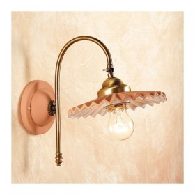 Applique wall lamp in satin brass and lampshade in terracotta pleated country vintage - Ø cm.21