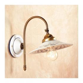 Appliques lampe de mur en satin de laiton et abat-jour en céramique décorée vintage rustique – Ø cm.21