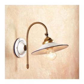 Appliques lampe de mur en satin de laiton et abat-jour en céramique, lisse, rétro, rustique – Ø cm.21