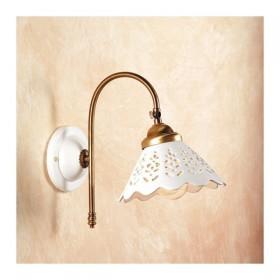Appliques lampe de mur en satin de laiton et abat-jour en céramique perforée rétro-rustique – Ø 18 cm