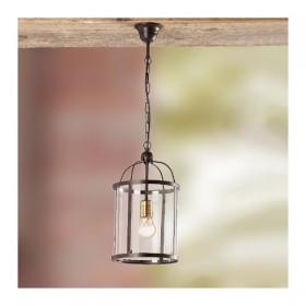 Lampe à Suspension en fer avec une lampe en verre à l'ombre rustique vintage – Ø 20 cm