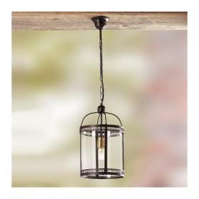 Lampada a sospensione in ferro con paralume in vetro stile rustico country – Ø cm 20