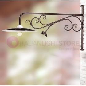 Applique da esterno in ferro con piatto paralume in ferro smaltato vintage rustico – prof. cm. 100