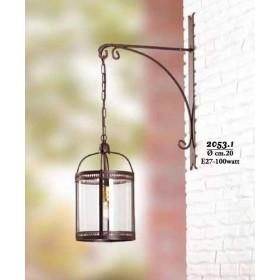 Applique lampada da parete in ferro sospesa con paralume in vetro stile rustico retrò – Ø cm 20