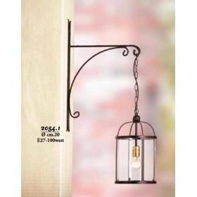 Applique lampada da parete sospesa in ferro con paralume in vetro stile rustico vintage – Ø cm 20