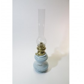 lampada a petrolio azzurra con finiture oro