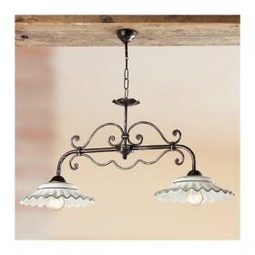 Lampada a bilanciere a 2 luci in ferro con piatti in ceramica plissettati vintage country – Ø 87 cm