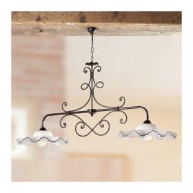 Lampada a bilanciere a 2 luci in ferro con piatti in ceramica ondulati vintage rustico – Ø 135 cm