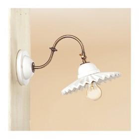 Wandleuchter wandlampe in messing und lampenschirm aus weißem keramik, plissee retro country – Ø 21 cm