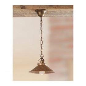 Lampe à Suspension avec plate lisse en laiton antique-vintage-rustique – Ø 25 cm