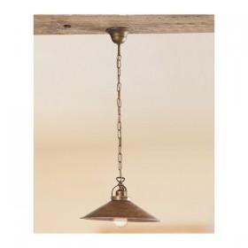 Lampe à Suspension avec plate lisse en laiton antique-rustique-retro – Ø 35 cm