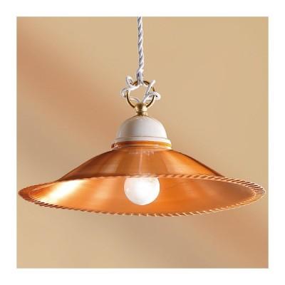 Kronleuchter pendelleuchte mit lampenschirm in kupfer-glänzend lackiert country vintage – Ø 30 cm