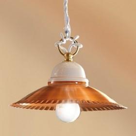 Kronleuchter pendelleuchte mit lampenschirm in kupfer-glänzend lackiert retro-vintage – Ø 21 cm