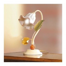 Table lamp with diffuser in ceramic perforated retro-country - h. 32 cm