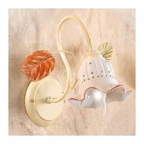 Applique lampada da parete a 1 luce con diffusore in ceramica traforata retrò country – h 33 cm