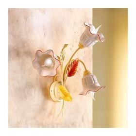 Applique lampada da parete a 3 luci con piatto in ceramica traforata country vintage – h 52 cm