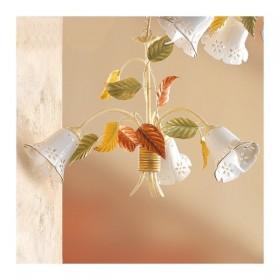 Lampada a sospensione a 3 luci in ceramica a campanella traforata country retrò – Ø 60 cm