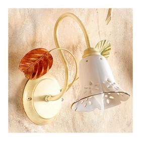 Applique lampada da parete a 1 luce con diffusore in ceramica traforata retrò country – h. 33 cm