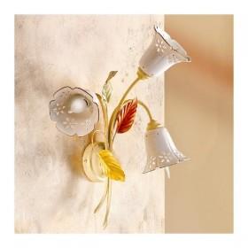 Applique lampada da parete a 3 luci con piatto in ceramica traforata a campanella country vintage – h 52 cm