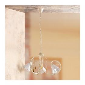 Lampe à Suspension 3 lumières en fer forgé et céramique plaque perforée pays rétro – Ø 55 cm