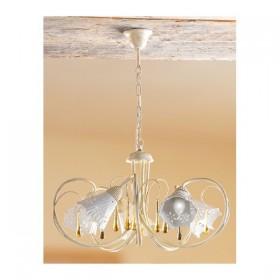 Lampada a sospensione a 5 luci in ferro e piatto in ceramica traforata vintage retrò – Ø 55 cm
