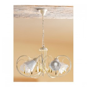 Suspension lamp 5 lights iron plate and drilled ceramic vintage retro - Ø 55 cm