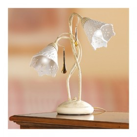 Lampada da tavolo a 2 luci in ferro con diffusore in ceramica traforata vintage retrò – h. 40 cm