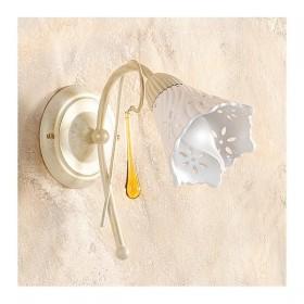 Applique lampada da parete a 1 luce con diffusore in ceramica traforata retrò country – h. 24 cm